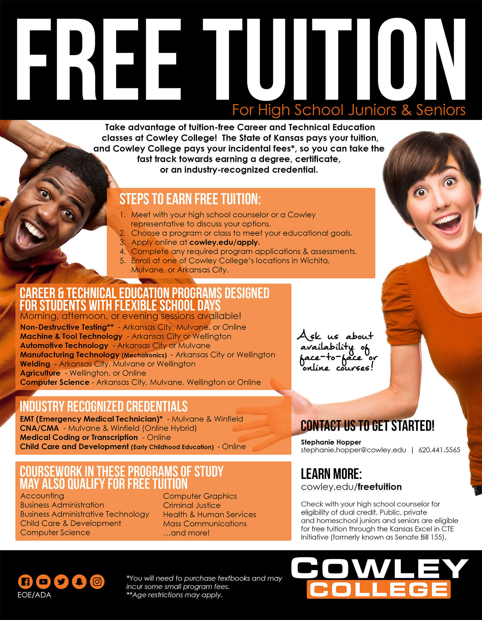 Free Tuition at Cowley College