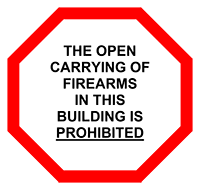 The open carrying of firearms in buildings on campus is prohibited
